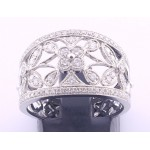 18ct White Gold Open Filagree Diamond Ring SOLD