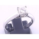 18CT White Gold 50pt Princess Diamond Solitare Ring
