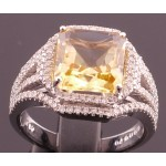 18ct Emerald Cut Large Citrine and Diamond Ring