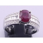 18ct White Gold Ruby and Bagette Diamond Ring SOLD