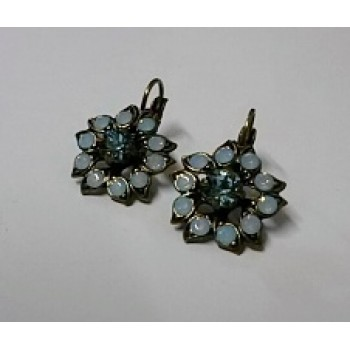 Brass Floral Blue Stone Earrings