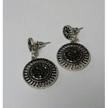 Two Part Circular Silver Drop Earrings
