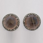 Silver smokey quartz and marcasite Stud Earings
