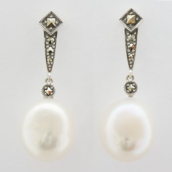 Silver marcasite and pearl drop earings