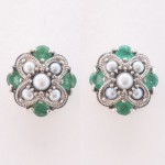 Silver emerald and pearl stud earings