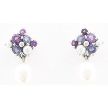 Amethyst Iolite And Pearl Stud Earrings
