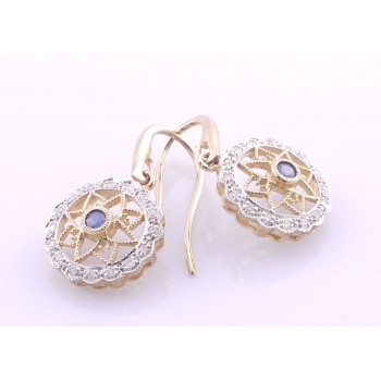 9ct Twotone Saphire and Diamond Earrings