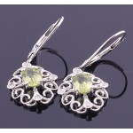 9ct White Gold Filagree Peridot Earrings