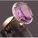 9ct Large Amethyst & Diamond Ring SOLD