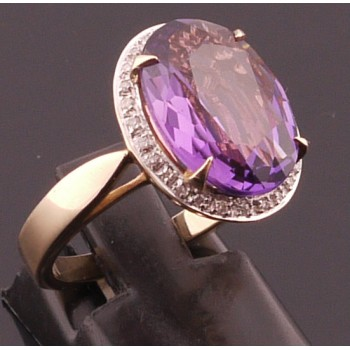 9ct Large Amethyst & Diamond Ring
