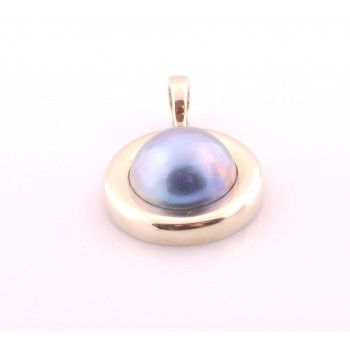 9ct Yellow Gold & Blue Mabe Pearl Enhancer