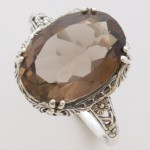 Silver filigree and smokey quartz ring