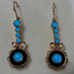 9ct yellow gold turquoise, onyx and seed pearl drop earrings