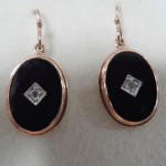 9ct Rose Gold Oval Onyx and Diamond Drop Earrings