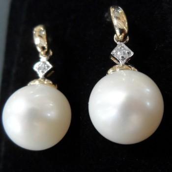 9ct yellow gold fresh water pearl and diamond earrings