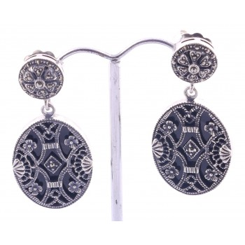 Silver Onyx, Marcasite and lacework Earings