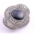 Silver Onyx & Marcasite Art Deco Style Brooch