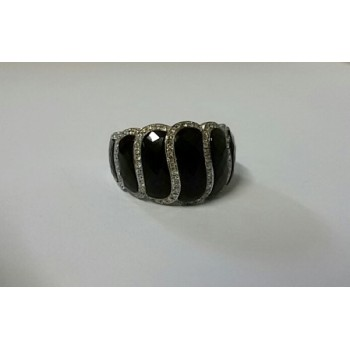 18ct Large Onyx and Diamond Ring