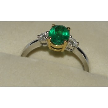18CT 2 Tone Quality Emerald & Diamond Ring SOLD