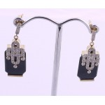 9ct Gold Onyx and Diamond Earrings SOLD