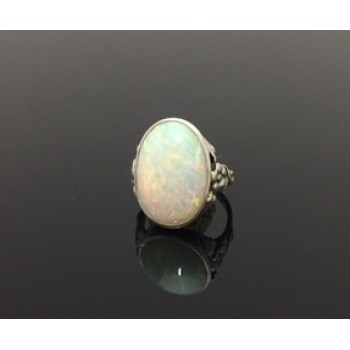 White Opal Ring in a Silver Filigree Band