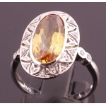 White gold and Citrine Ring