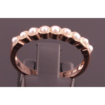 Pretty rose gold pearl eternity band