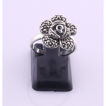 Silver Marcasite Rose Shaped Ring