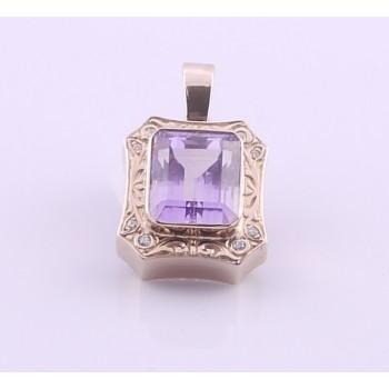 9ct Rose Gold Emerald Cut Amethyst And Diamond Enhancer