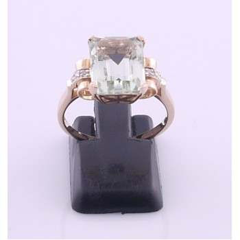 Rose Gold Emerald Cut Green Emerald And Diamond Ring