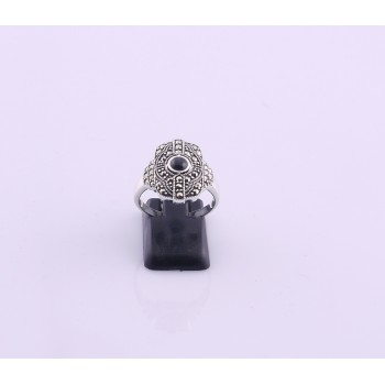 Silver Onyx and Marcasite Ring