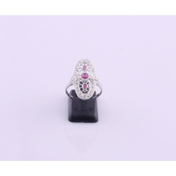 Silver Ruby and Cubic Ring