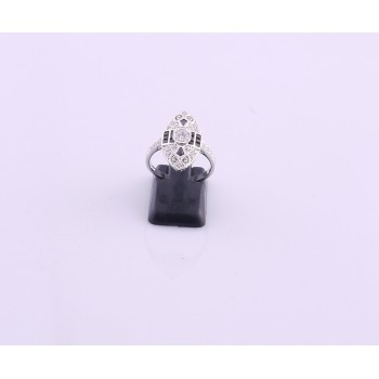 Silver Onyx and Diamond Ring