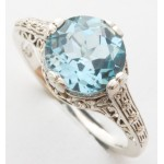 Silver And Topaz Filigree Ring