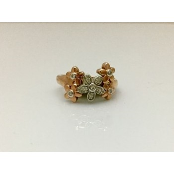 Two Tone Diamond Daisy Cluster Ring
