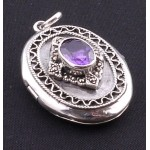 Silver Amethyst Locket
