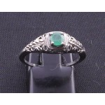 Silver Filagree Emerald Ring