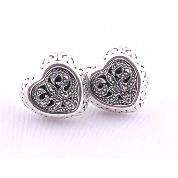 Lovely Silver Marcasite Heart Earings