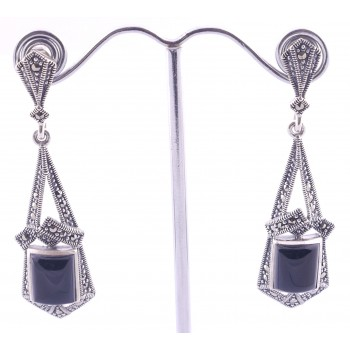 Outstanding Onyx and Marcasite Earings