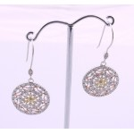 Silver Three Tone Cubic Earrings