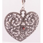 Silver Filagree Garnet, Marcasite, Seed Pearl and Garnet Heart Enhancer