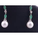 White Gold, Emerald and Diamond Earrings
